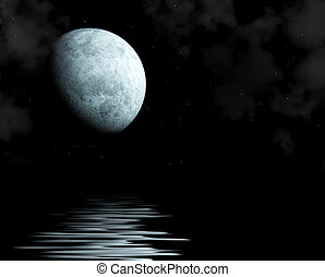 Moon - Night fairy tale - bright moon reflected in river