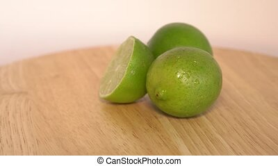 Close up rotation heap of the green limes