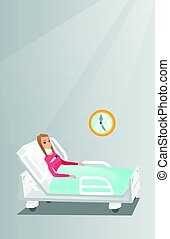 Woman with a neck injury vector illustration. - Caucasian...