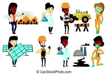 Vector set of characters on ecology issues. - Asian worker...
