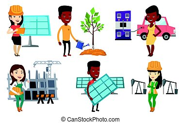 Vector set of characters on ecology issues. -...