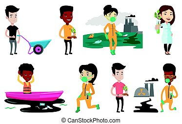 Vector set of characters on ecology issues. - Scientist in...