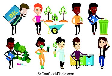 Vector set of characters on ecology issues. - Caucasian...