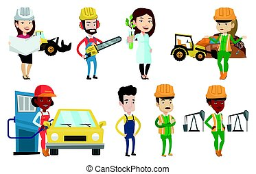 Vector set of characters on ecology issues. - African worker...