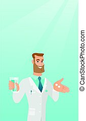 Pharmacist giving pills and a glass of water. - Young...