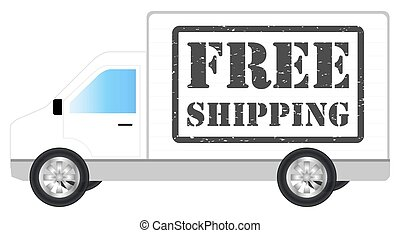white transport truck car with free shipping