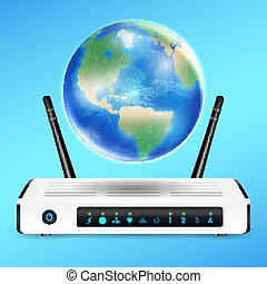 modem router with earth globe connect internet
