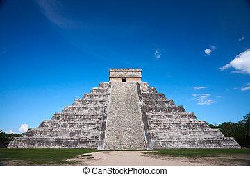 Chichen, Siete, itza, México, Uno, nuevo, mundo, maravillas...