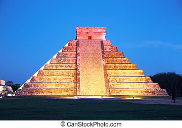 light show on Chichen Itza, Mexico, one of the New Seven...