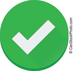 plat, afwerking, Gecontroleerde, Vector, groene, Correct,...