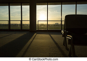airport terminal - bench seat in airport terminal with...