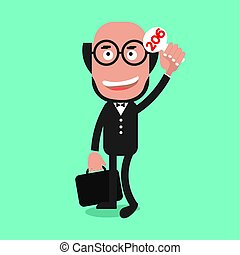 Businessman Show Bidding Price Vector Illustration