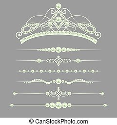 white realistic pearl dividers set collection with diadem isolated on grey background. vector illustration.
