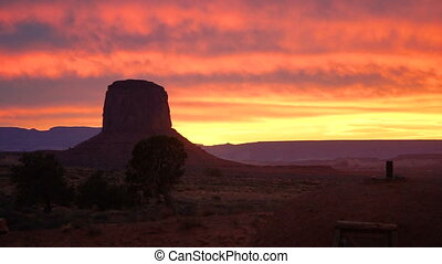 Intense Color Sunset Monument Valley Buttes Utah Arizona...