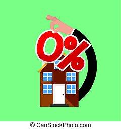 Zero Percent Home Loan Vector Illustration