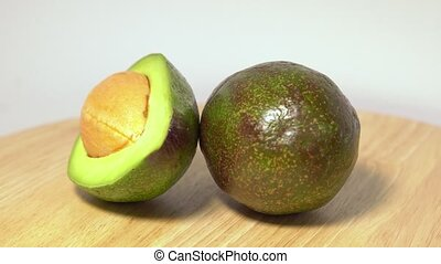 Close-up of a delicious avocado rotating.