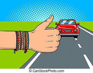 Hitchhiking pop art vector illustration