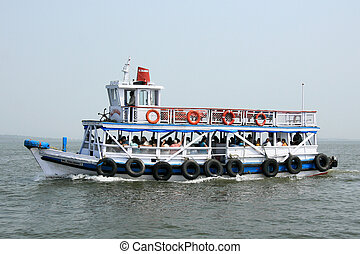 Elephanta Island, Mumbai, India - Ferry to Elephanta Island...