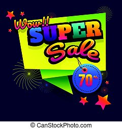 sale button Sale vector horizontal banner - 70% special offer. Layout with triangle elements. Abstract veiolet background. Design concept.