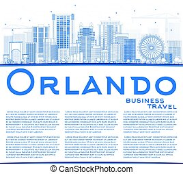 Outline Orlando Skyline with Blue Buildings and Copy Space.