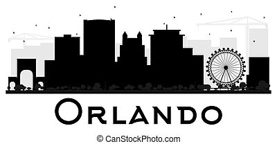 Orlando City skyline black and white silhouette.