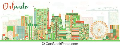 Abstract Orlando Skyline with Color Buildings.