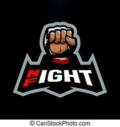 Night fight logo. - Night fight. Fighting logo design, on a...
