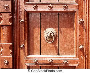 Detail of ancient wooden door with metallic rivets, Taj...