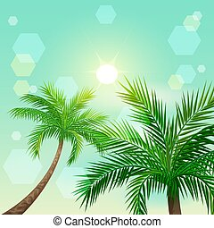 Tropical palm trees and sun in zenith. Paradise landscape...