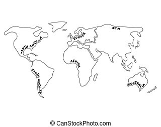 World map divided to six continents - North America, South America, Africa, Europe, Asia and Australia Oceania. Simplified outline vector map with continent name labels curved by borders