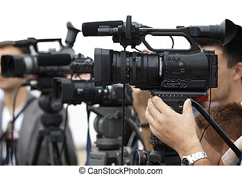 business conference camera journalism - close up of...