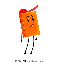 Sad orange humanized cartoon book character in a red cap vector Illustration
