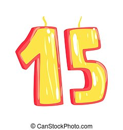 Birthday candles number 15 cartoon vector Illustration