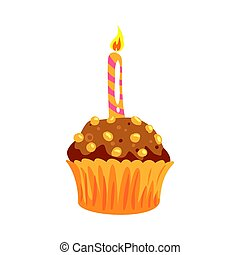 Party cupcake with burning candle cartoon vector Illustration