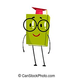 Funny smart green humanized book in a red graduation cap cartoon character vector Illustration