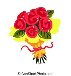 Red roses bouquet cartoon vector Illustration
