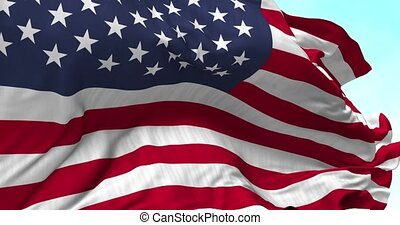 USA Flag Blowing in the Wind - Close up USA flag blowing in...