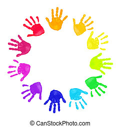 Colorful hands prints - Set of colorful hand prints in...