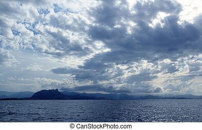 azul,  Mongo,  denia, Vista marina, nublado, Océano, mar
