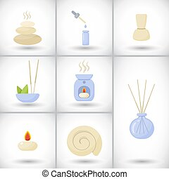 Spa flat vector icons set - Spa and massage flat vector...