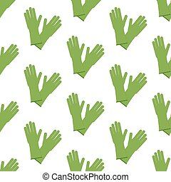 Rubber gloves pattern on the white background. Vector...