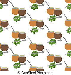 Calabash mate pattern on the white background. Vector...