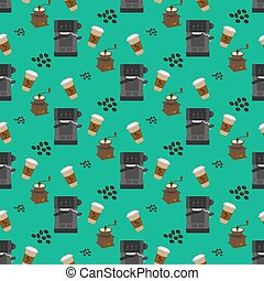 Coffee machine pattern on the green background. Vector...