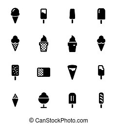 Vector black ice cream icons set