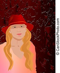 Vector illustration with girl in hat