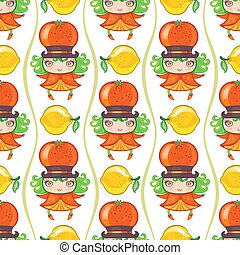 Seamless colorful pattern with Tangerine or orange fruit girl. Vector background