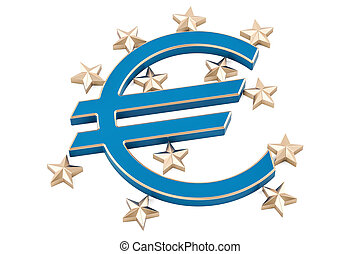 European Banking concept, 3D rendering isolated on white...