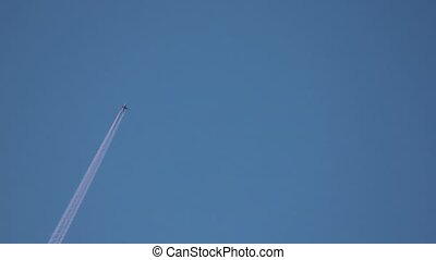 jet layer, aircraft pollution on sky, white trace vapour by...