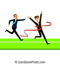 Business people competition, two businessman crossing the finish line vector Illustration