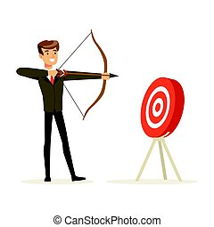 Cheerful businessman aiming target with bow and arrow vector Illustration